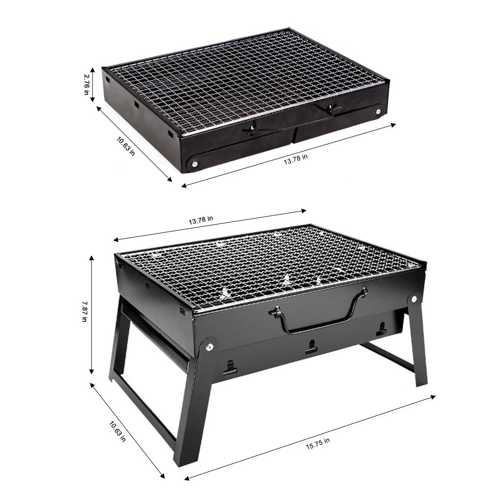 Woby BBQ Charcoal Grill Small Foldable Portable Lightweight Tabletop Barbecue Grill Cooker for Outdoor Cooking Picnics Camping Hiking at Home by Woby (Image #5)