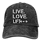 Men's/Women's Live Love Lift Cotton Denim Baseball Cap Adjustable Street Rapper Hat
