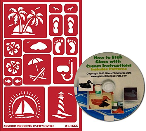Tropical Beach Stencils, Reusable with Palm Trees, Sailboat, Sandals, Sea Gull, Lighthouse, Snorkel, Fish + Free How to Etch CD