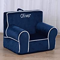 DIBSIES Personalized My Anytime Chair for Toddlers - Ages 1.5 to 4 Years Old (Blue with White Piping)