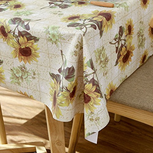 Diliba Sunflower Vinyl Oilcloth Tablecloth Rectangle Wipeable Oil-Proof Waterproof PVC Heavy Duty Long Farmhouse Tablecloth 54 x 108 Inch