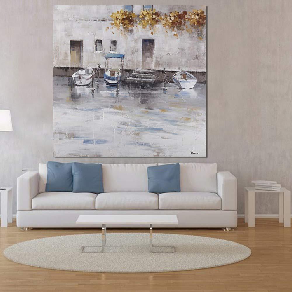 WHUI pintura al óleo Ciudad abstracta del paisaje urbano dibujado a a dibujado mano pintura al óleo abstracta del paisaje en lienzo arte de la pared dormitorio decoración para el hogar 76c06b