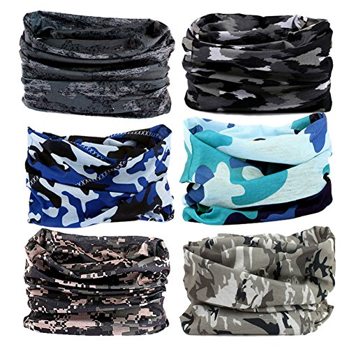 Headband Headwear Head Wrap Bandana Sport - 6PCS Magic Seamless Scarf Wide Hairbands Elastic Tube Face Mask Neck Gaiter UV Resistence Outdoor Workout (Hair Net Mask)