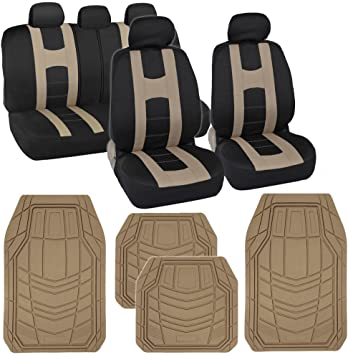 Car Seat Covers Beige Polyester Cloth W Front Rear Black Carpet Floor Mats Ushirika Coop
