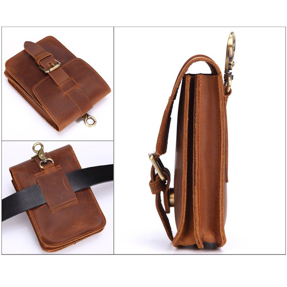WEYUN Mens Crazy Horse Leather Small Hook Waist Bag Waist Belt Bag Phone Case Pouch