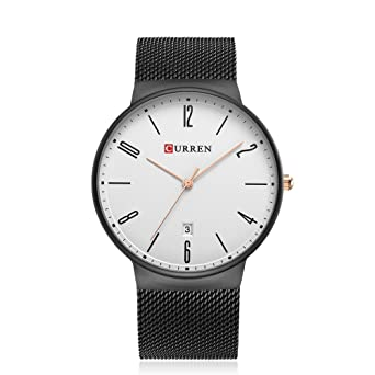 CURREN 8257 (Black White) Mens Unisex-adult Waterproof Stainless Steel Date Good Quality