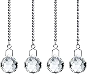 (20mm) - Beauty Crystal Clear Crystal Ball Prism 4 Pieces Dazzling Crystal Ceiling FAN Pull Chains (20mm)