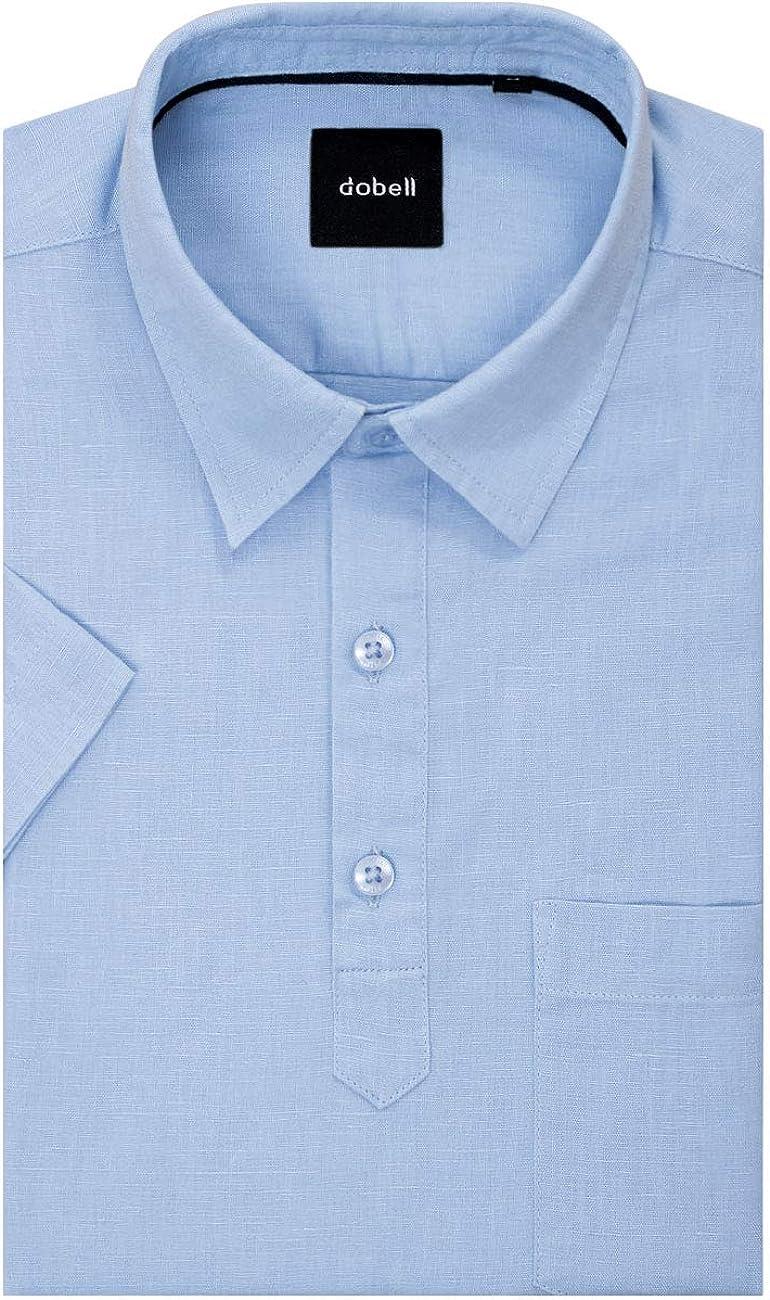 Camisa Azul Claro de Lino con Cuello Pop-Over y Manga Corta ...