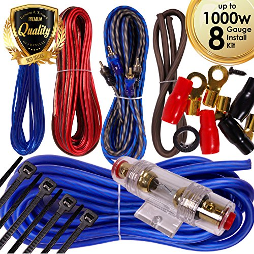 1000w Amp Wire - Complete 1000W Gravity 8 Gauge Amplifier Installation Wiring Kit Amp PK1 8 Ga Blue - For Installer and DIY Hobbyist - Perfect for Car/Truck/Motorcycle/RV/ATV