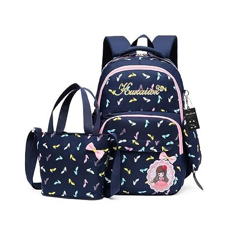 CUILEE Conjunto de 3 Niños Bolsas de Libros Escuela/Bolsas Escolares/Mochila niños niñas Adolescentes + Bolso Crossbody+Bolsa lápiz (Azul Oscuro)