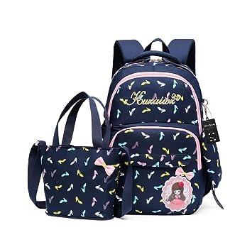 CUILEE Conjunto de 3 Niños Bolsas de Libros Escuela/Bolsas Escolares/Mochila niños niñas Adolescentes + Bolso Crossbody+Bolsa lápiz (Azul Oscuro): ...