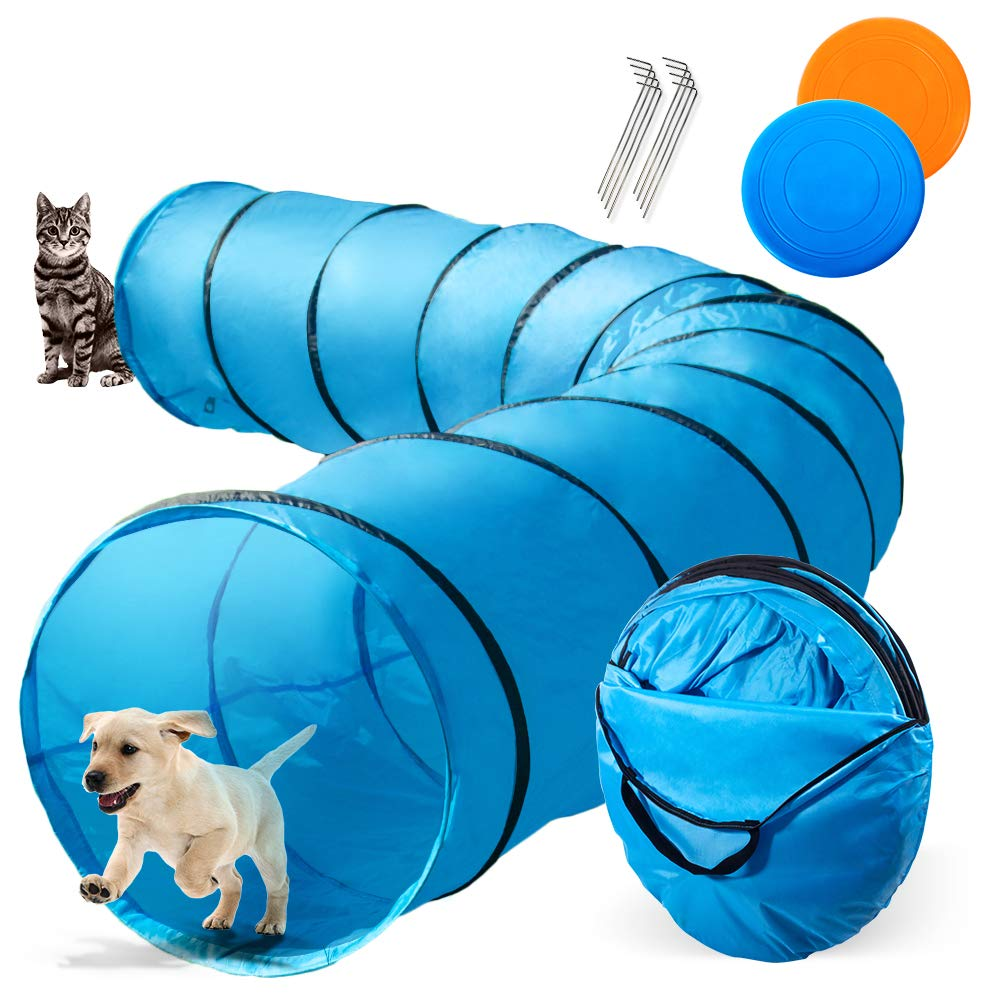 Topmart Dog Playing Tunnel 16.5ft Agility Pet Training Tunnel Tube with 2 Frisbees and Carry Bag for Cats Dogs Outdoor Training by Topmart