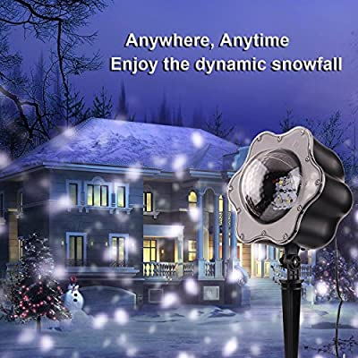 LED Snowfall Christmas Projector Lights Snow White Waterproof Spotlight Decoration Lamp Outdoor & Indoor Room Family Event Party Celebrate Garden Patio Lawn Decorative Lighting
