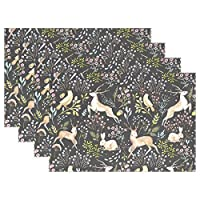 """AHOMY Placemats Set of 6, Deer Branch Bird Rabbit Place mat for Dining Table 18""""x12"""" Table Mats Kitchen and Décor"""