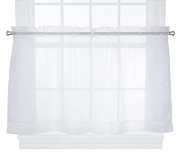 Kitchen Curtains 36 inch kitchen curtains : Amazon.com: Ellis Curtain Jessica Sheer Tailored Tier Curtains, 54 ...