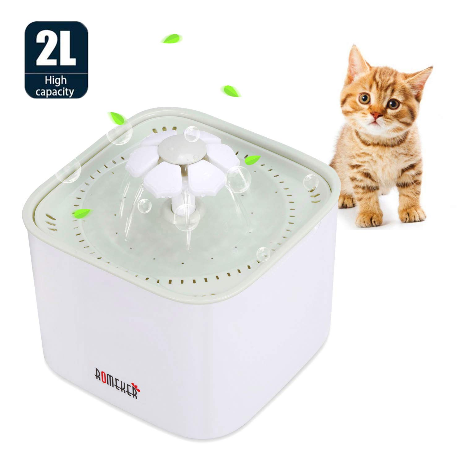 ROMEKER Pet Fountain Cat Water Dispenser 2L Automatic Pet Water Fountain Healthy and Hygienic Drinking Fountain for Cats and Dogs Birds and Small Animals