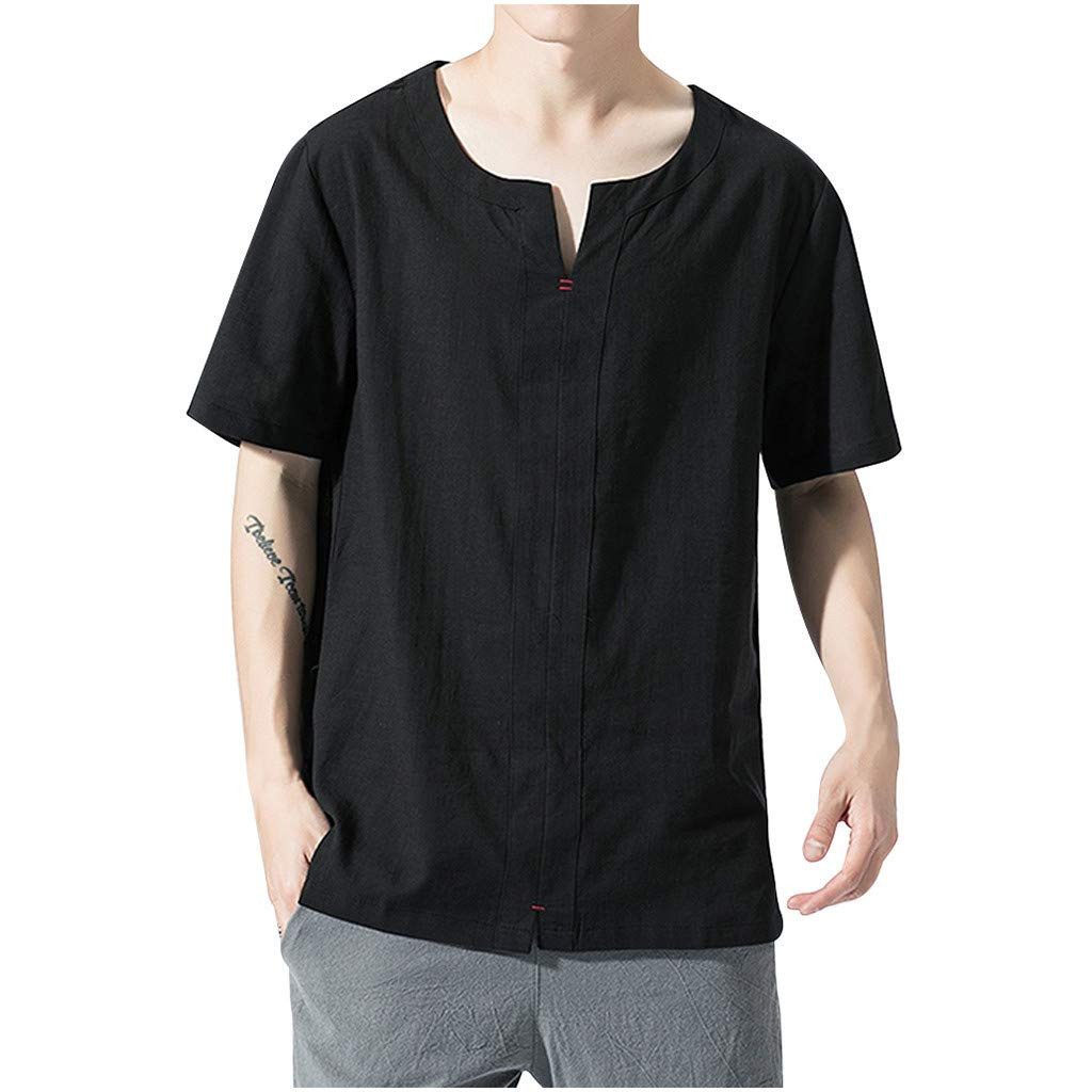 RoDeke Men's Summer Casual Loose Pure Color Short Sleeve Polo Fashion T-Shirt Top Blouses Beach Vacation Black