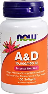 NOW FOODS Now VIT A and D 10000/400, 100 Count