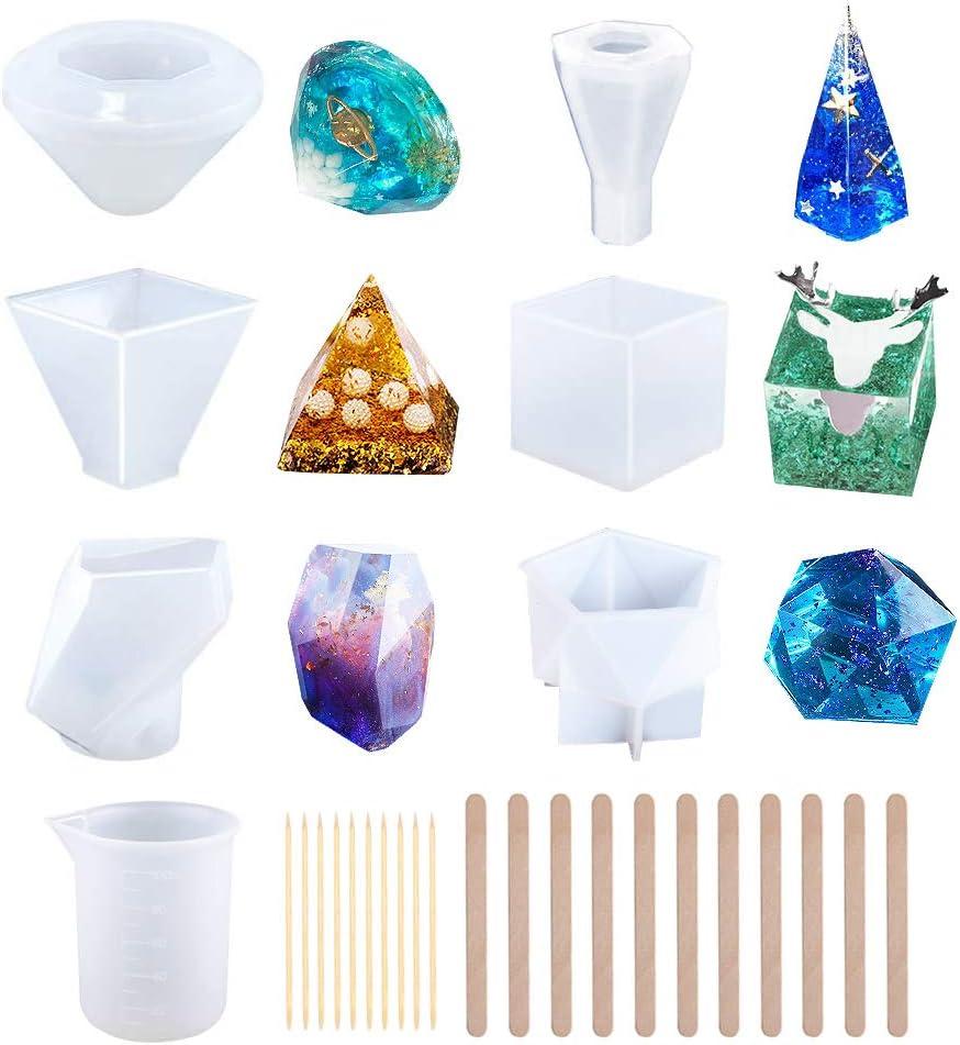 CALISTOUK Moldes para Fundición de Resina Grandes de Silicona para Bricolaje para Jabón Cera Epoxi Que Incluye Cubo/Pirámide/Diamante/Piedra/Tazas para Mezclar/Palos de Madera