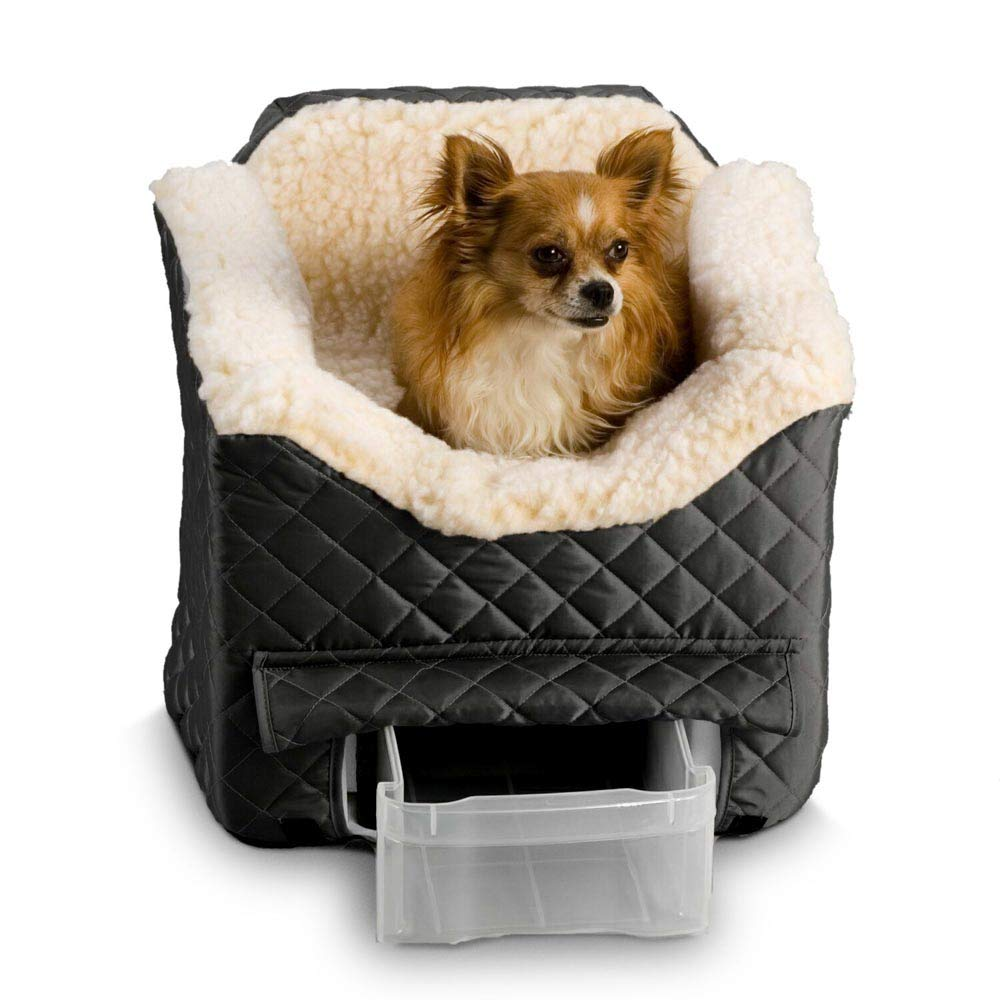 eenk Car Seat Booster Bed for Dogs with a Safety Strap and Clip on Harness for Dog, Cat, and Any Pets Under 30 Pounds Washable Cover, Double Sided Cushion, Storage Pocket