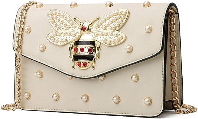 Senoow Sacs à main et sacs à main luxe petites strass perles chaîne bandoulière pour dames sacs soirée sac de fête