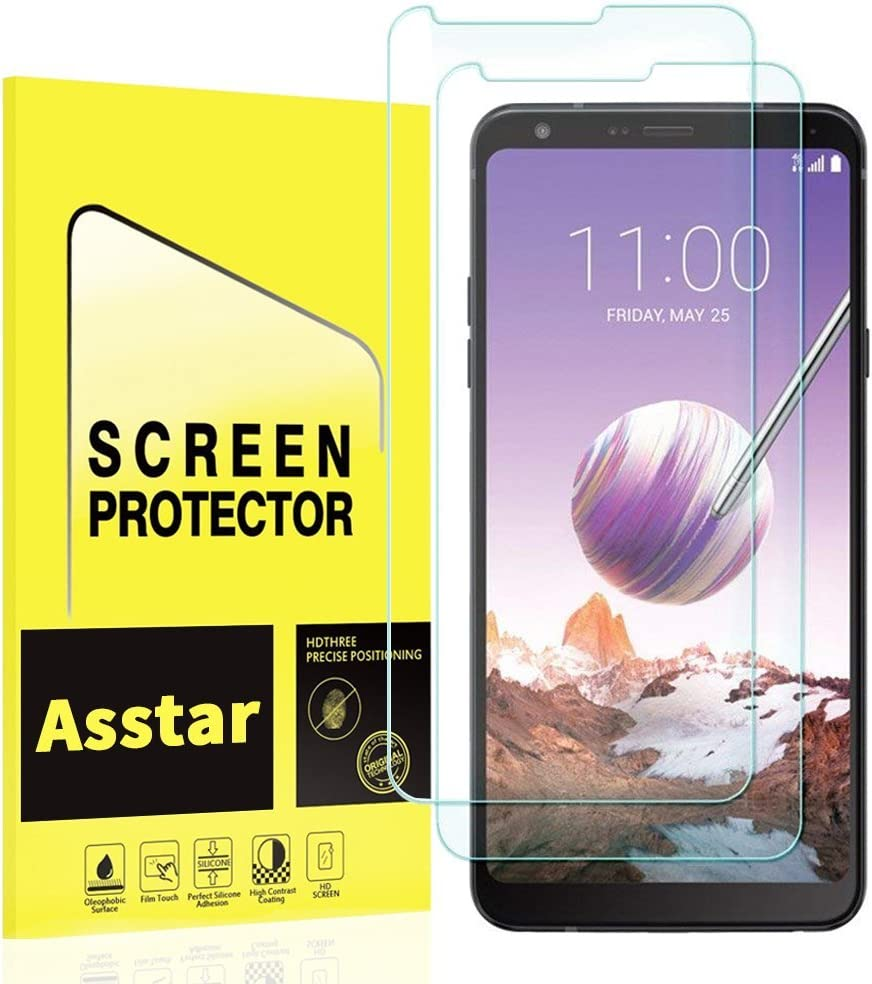 [2 Pack] LG Stylo 4 Screen Protector, Asstar 9H Hardness 2.5D Rounded Edges Crystal Clear Bubble Free Anti-Scratch Anti-fingerprint Tempered Glass Screen Protector for LG Stylo 4 2018