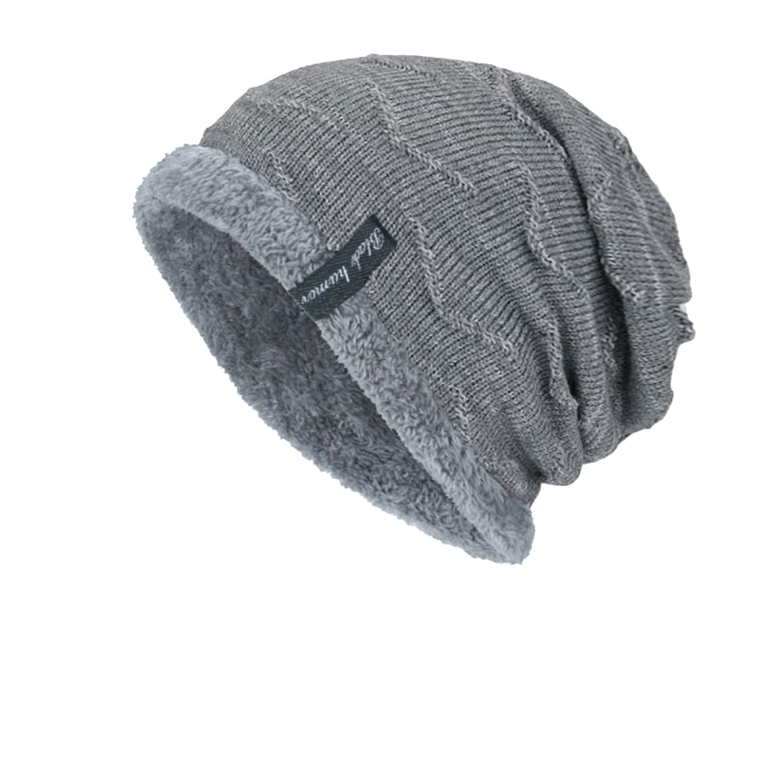 3b9b63bf3c5 DD UP Winter Beanie Hat Men Warm Knit Thick Skull Cap With Soft Fleece  Lining  Amazon.co.uk  Clothing