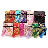 Traditional Brocade Pouch, Coin Purses, Embroidery Pouch, Jewelry Bag, Set of 6 different colors