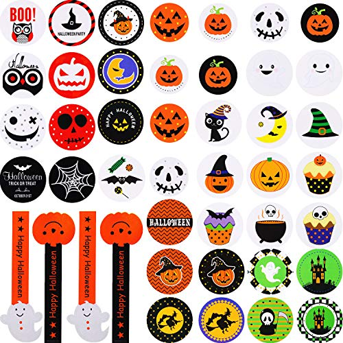 SATINIOR 500 Pieces Halloween Stickers 38 Types Halloween Sticker Sheets Assorted Color Adhesive Stickers for Cookie Candy Bag Stickers Halloween Party Bag Favours, 50 Sheets