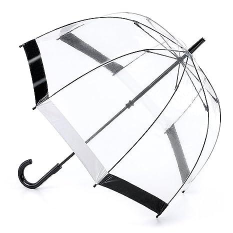 Fulton Birdcage-1 clara paraguas cúpula con borde negro y blanco