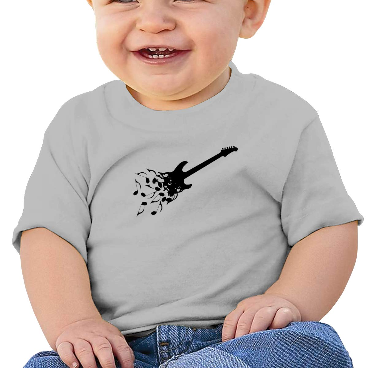JVNSS Black Guitar and Music Notes Baby T-Shirt Toddler Cotton T Shirts Short Sleeve Clothes for 6M-2T Baby