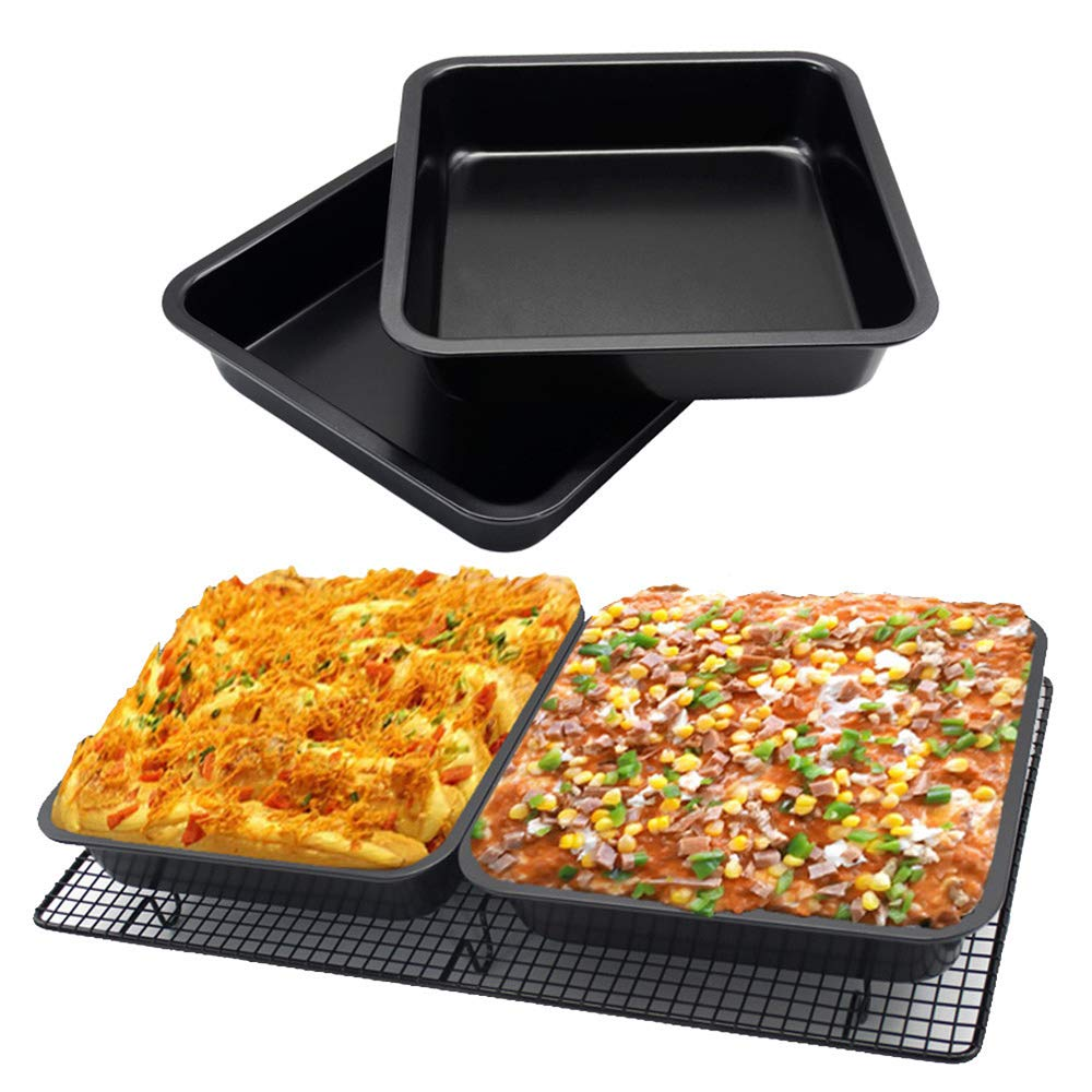Amazing 2 pcs Mini Square Cake Pan 8 inch Cake Baking Pan Non-Stick Bakeware Cake Make Pan