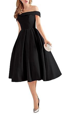 e0efd53cd1b Lafee Bridal Women s Off Shoulder Prom Dresses Tea Length Cocktail Evening  Gowns Black Size 2