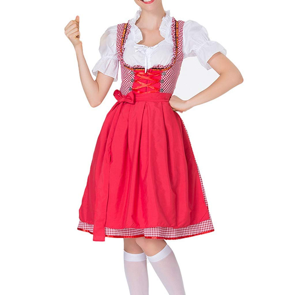 Kawaii Cosplay Dresses ♦ Plus Size Maid Midi Dress Beer Festival Cosplay Costumes Summer Beach Party Red