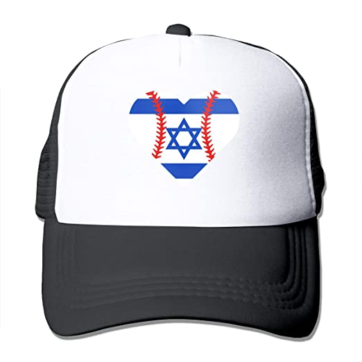 c4cf3d95421 Amazon.com  OKMBGNFH8 Unisex Israel Flag Baseball Heart Two Tone Trucker Hat  Mesh Back Cap - The Great Outdoors Black  Clothing