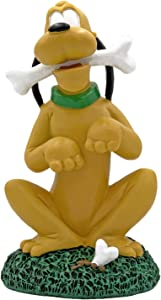 The Galway Company Pluto with Bone Garden Statue, Hand Painted, Made of Durable Stone Resin, Stands 8 inches Tall and 4 inches Wide.Official Licensed Disney Product.