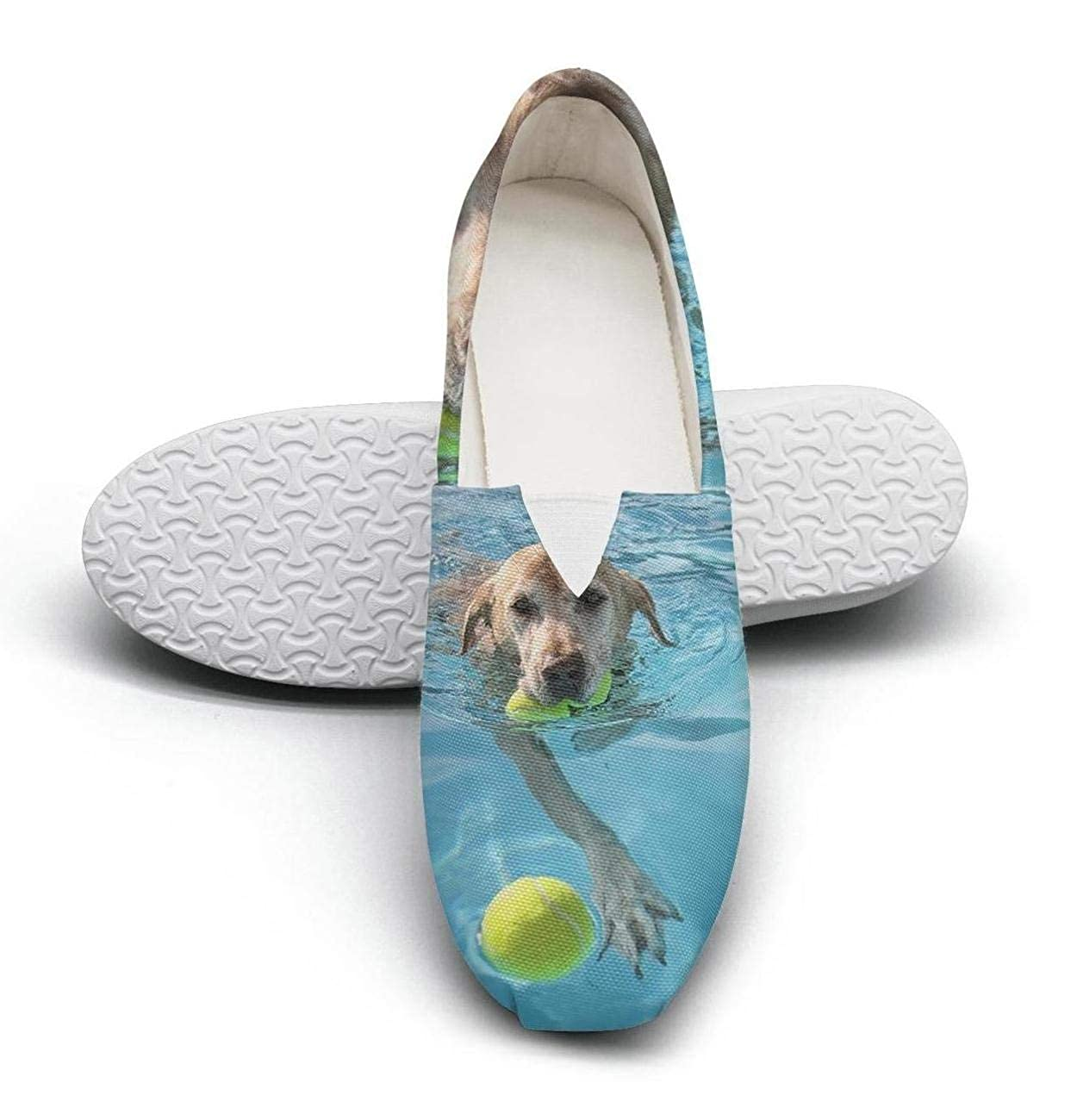 nkfbx Labrador Dog with Ball at Public Pool Casual Flat Sneakers for Girls Walking