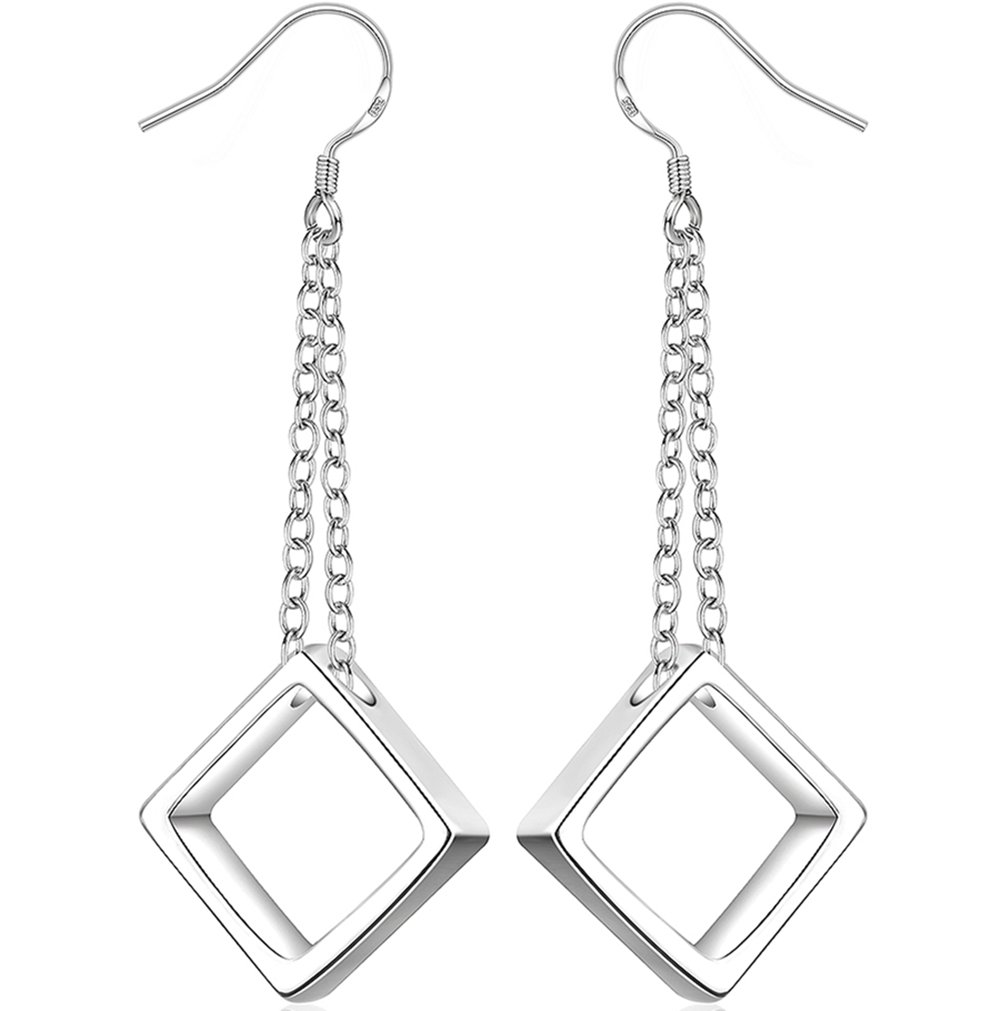BLOOMCHARM Share Love Square Stud Fashion Dangle Drop Long Earrings Jewelry, Best Gifts for Women Girls by BLOOMCHARM