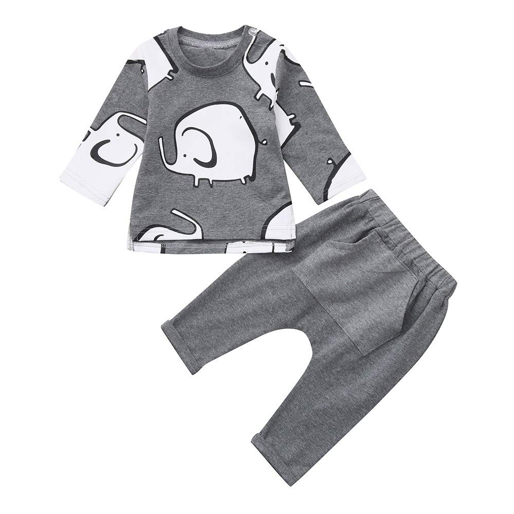 Infant Toddler Baby Boy Girl Winter Casual Clothes Outfits Cuekondy Cute Cartoon Elephant Print T-Shirt Tops+Pants Set