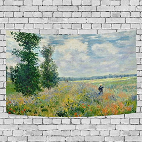 (WIHVE Large Tapestry Monet's Poppy Field Argenteuil Tapestry Wall Hanging Art Home Decor for Living Room Bedroom Bathroom Kitchen Dorm 90 x 60 Inches)