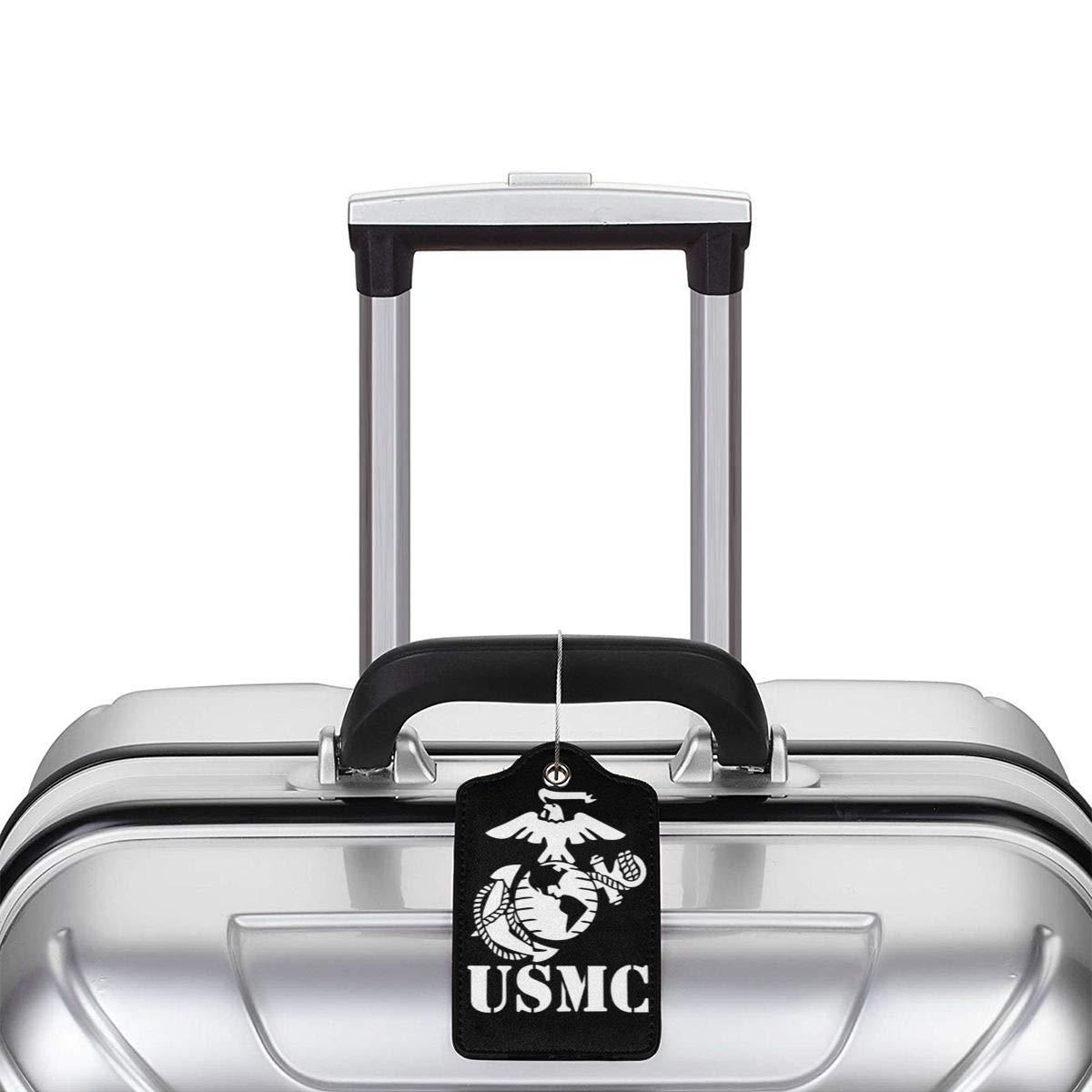 Globe Anchor USMC Marine Corps Viny Leather Luggage Tag Travel ID Label For Baggage Suitcase