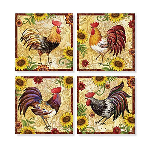 """Set of 4 """"Rooster and Sunflower"""" Square Stone Coaster Set by Carson Home Accents"""
