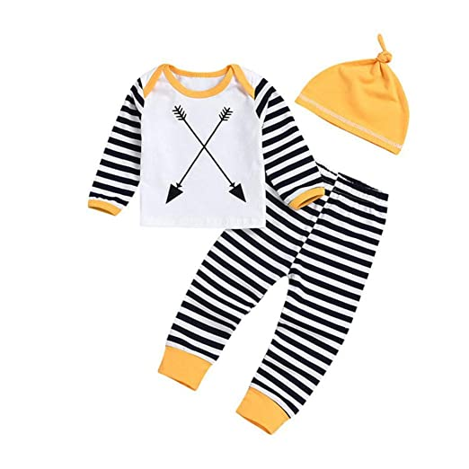 898cbe7b4de SUJING Baby Girls Outfits Stripe Print Rompers Clothes Set Infant Outfits  Long Sleeve Bodysuit + Hat