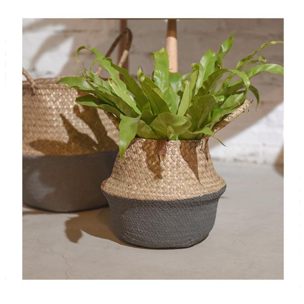 YJYdada Seagrass Wicker Basket Wicker Basket Flower Pot Folding Basket Dirty Basket (Gray)