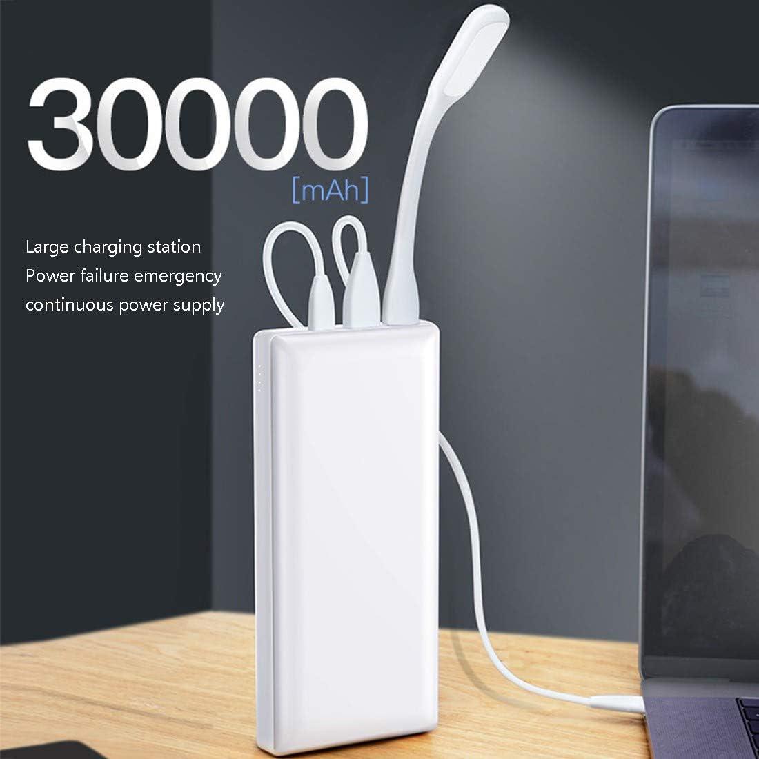 MMFXUE Power Bank 30000mAh Potenza Mobile Esterna Carica Rapida Alimentatore per Cellulare Grande capacità Compatibile per iPhone iPad Tablet Android White