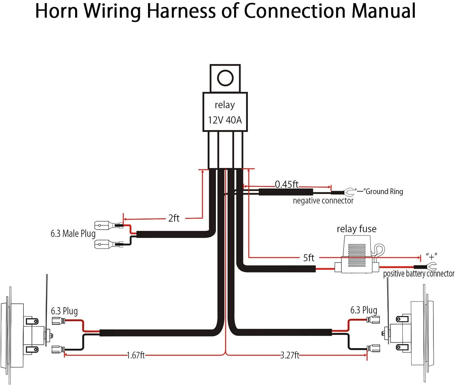 wolo horn wiring diagram amazon com jhe horn wiring harness kits for car truck grille  jhe horn wiring harness kits for car