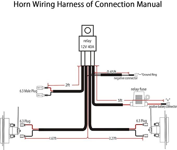 Amazon.com: Jhe Horn Wiring Harness Kits for Car Truck Grille Mount Blast  Tone Horns with 16AWG: AutomotiveAmazon.com