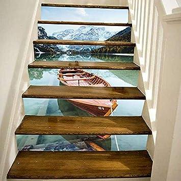 Pegatinas de escalera Rojo Cielo azul Puesta de sol Mar Lago Barco Pegatinas de escalera Dormitorio