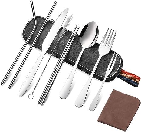 Portable Chopsticks Spoon Fork Cutlery Bag for Dinner Travel Camping Tableware