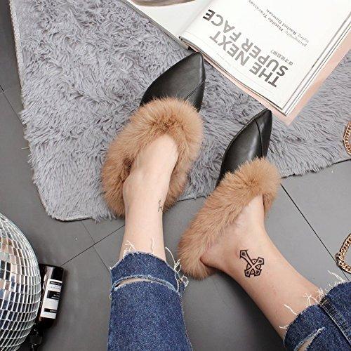 Planos Moda Punta Zapatos caqui Baotou EUR34 de Zapatos de Peludos con con 5 Perezosos Piso SZwIqa8n1